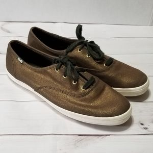 Keds Coppery Metallic &Army Green Lace Up Shoes